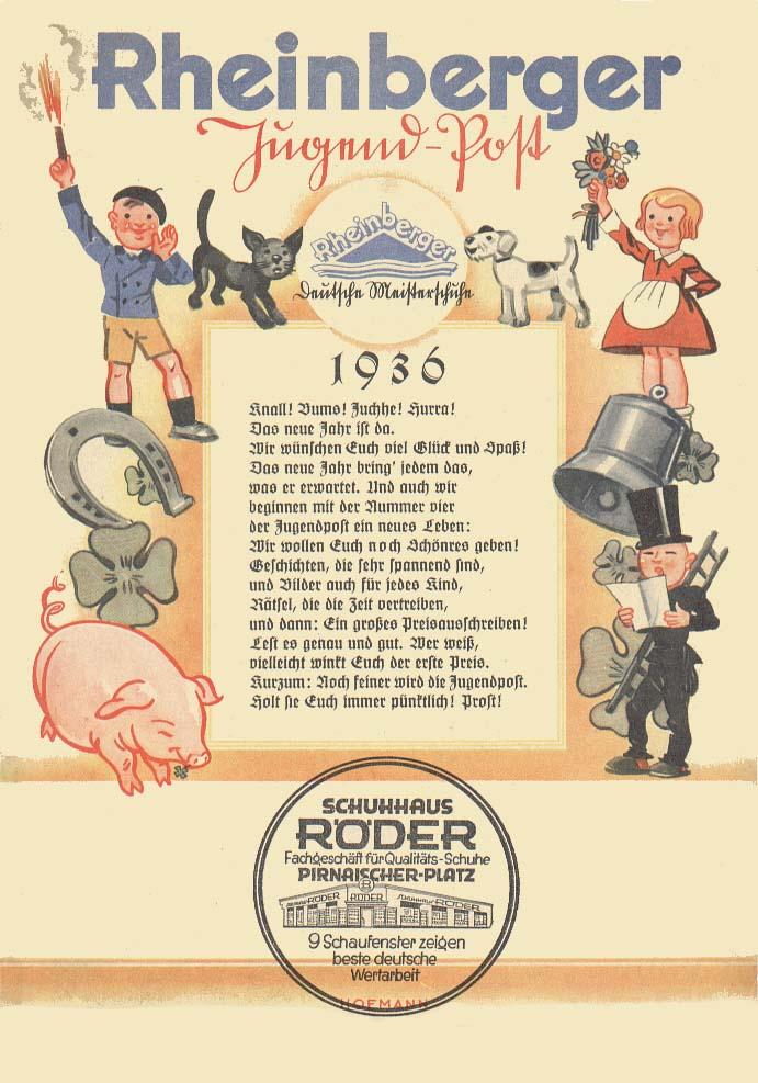 Rheinberger Jugendpost aus dem Jahr 1936